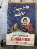 40s Vintage Champion Spark Plugs Advertising Poster Sign (B025)