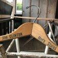画像1: Vintage Antique Advertising Wood Hanger Jim CLINTON Men's Store (B249) (1)