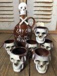画像1: 50s Vintage JAPAN Skull Poision Bottle Decanter Shot Glass SET (B276) (1)