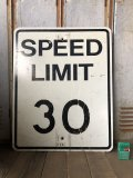 Vintage Road Sign SPEED LIMIT 30 (B315)