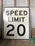 Vintage Road Sign SPEED LIMIT 20 (B297)