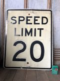 Vintage Road Sign SPEED LIMIT 20 (B286)