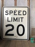 Vintage Road Sign SPEED LIMIT 20 (B291)