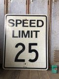Vintage Road Sign SPEED LIMIT 25 (B303)