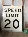 Vintage Road Sign SPEED LIMIT 20 (B287)