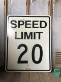 Vintage Road Sign SPEED LIMIT 20 (B300)