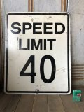 Vintage Road Sign SPEED LIMIT 40 (B323)