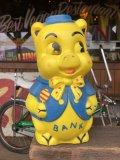 Vintage Piggy Bank Dot Ribbon (S821)