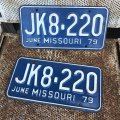 70s Vintage License Plates JK8-220 SET (B533)