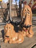 70s Vintage Sad Big Eyes Basset Hound Dogs Ceramic Figurines (B662)