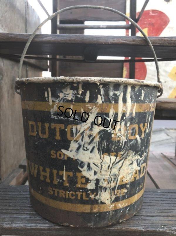 画像1: Vintage Dutch Boy White Lead Paint Bucket Pail (B707)