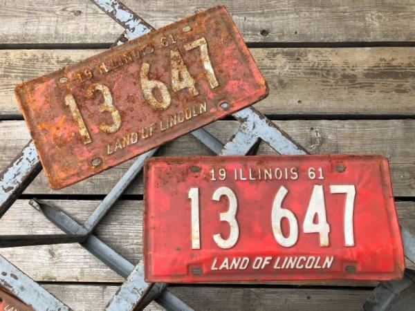 画像1: 60s Vintage American License Number Plate 1961 13 647 (B814)