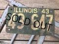 40s Vintage American License Number Plate 1943 43 647 (B804)