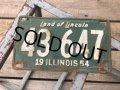 50s Vintage American License Number Plate 1954 43 647 (B803)