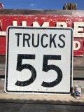 Vintage Road Sign TRUCKS 55  (B232)