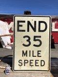 Vintage Road Sign END 35 MILE SPEED (B242)
