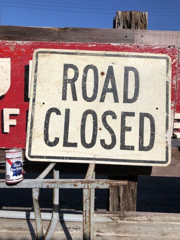 画像1: Vintage Road Sign ROAD CLOSED (B240)