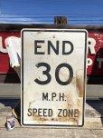 画像1: Vintage Road Sign END 30 M.P.H. SPEED ZONE (B243)  (1)