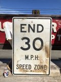Vintage Road Sign END 30 M.P.H. SPEED ZONE (B243)