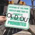 70s Vintage Cardboard Sign STRICTLY PROHIBITED (B302)