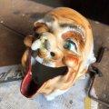 50s Japan Hobo Drunk Face Ceramic Ashtray (B457)